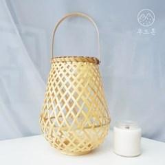 라탄 인테리어 뱀부 캔들홀더 항아리형 T03 (무료배송)_(2354852)