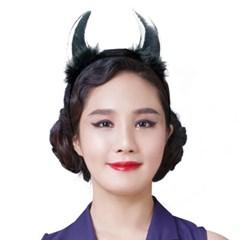 악마 뿔 깃털 머리띠 중 [실버]_(11834911)