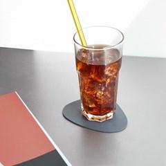 르리에 인조가죽 컵받침 코스터 2개세트(오벌)_(1825660)
