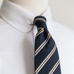 BP STRIPE COTTON TIE (navy)