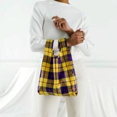 [바쿠백] 소형 베이비 에코백 장바구니 Yellow Tartan_(1771732)