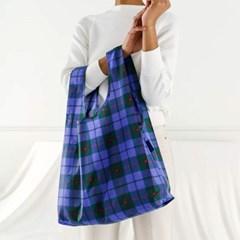 [바쿠백] 휴대용 장바구니 접이식 시장가방 Blue Tartan_(1771729)