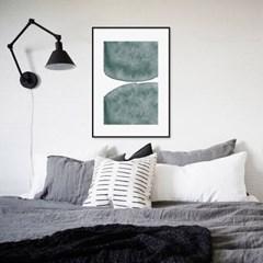 패브릭 포스터 캔버스 인테리어 액자 현대미술 추상화 그린블루B