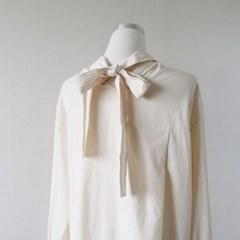 백리본 루즈핏 코튼 셔츠 남방 (2color)