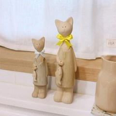 갓샵 리본 고양이 장식 소품 2p [도자기 인형 장식품 집들이 선물]