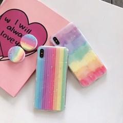 반짝이 별 레인보우 스마트톡 아이폰 케이스