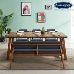 칸쿤 원목 6인용 식탁세트(벤치1+의자3)