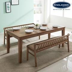 아모스 고무나무 원목 6인용 식탁세트(벤치2)