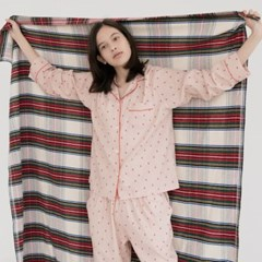[w] Love Square Flannel Pajama Set