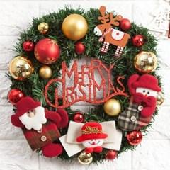 모자체크인형리스 350Ø(mm)P 트리 크리스마스 TRWGHM_(1527890)