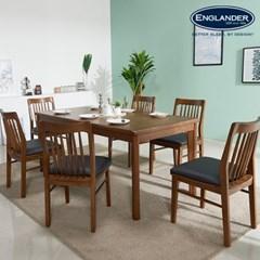 잉글랜더 트로이 고무나무 원목 6인용 식탁세트(의자6)