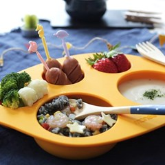 모니 이유식용품 이유식기 실리콘 흡착식판 3세트 (수량3)