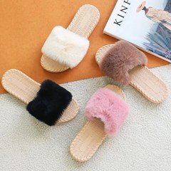 kami et muse Soft outsole fur slippers_KM19w100