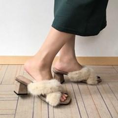 kami et muse Mink fur strap heel slippers_KM19w106