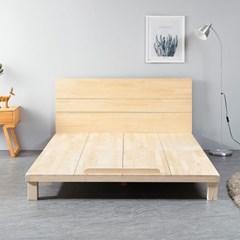 [리코베로]대청마루 소나무원목 평상형 저상침대 슈퍼싱글 헤드포함