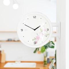 [타임데코] 모던 양면벽시계 - 플라워