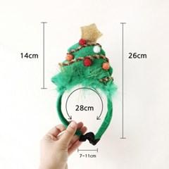 크리스마스트리 머리띠 코스튬 고양이 강아지 모자 Miyopet