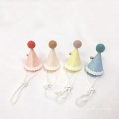핸드메이드 고양이 파스텔 고깔 모자 / 강아지 생일 고깔모자