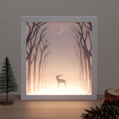 LED 프레임 눈꽃사슴 조명