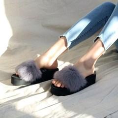 kami et muse 6cm wedge platform fur slippers_KM19w122