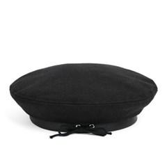 MELTON WOOL FLAT BERET (black)