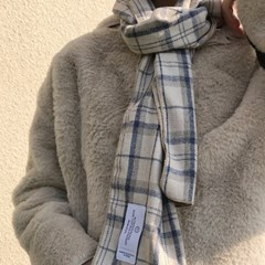 natural beige blue check muffler ( hand made )