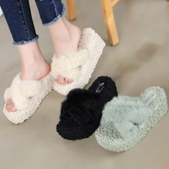kami et muse Boucle fur wedge heel slippers_KM19w130