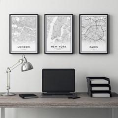 뉴욕 런던 파리 지도 인테리어 액자 포스터 3in1 세트