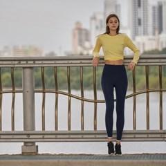 여성 요가복 DEVI-T0008-레몬 필라테스 티셔츠 긴팔