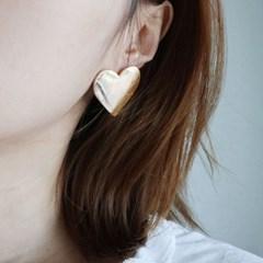 큰 하트 실버 골드 귀걸이 (2color)