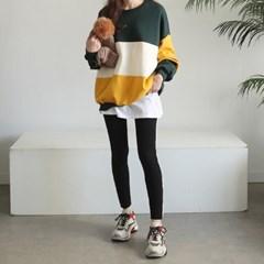 [하늘바라기]쓰리 배색 기모 맨투맨