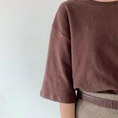 여성 5부 소매 오버핏 양기모 무지 반팔 티셔츠