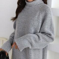 여성 겨울 언발 오버핏 목폴라 롱 니트 원피스