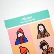 겨울 사각 스티커