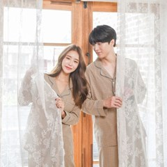(빅사이즈OK)커플 순면 체크 환절기 잠옷 파자마 세트
