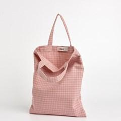 패턴 미니 에코백 - pink check
