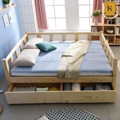 세이퍼 원목 서랍형 침대 프레임  Q+스마트 독립매트