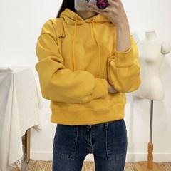 마쉬옐로우 컨트 기모 크롭 후드 티셔츠 (4colors)