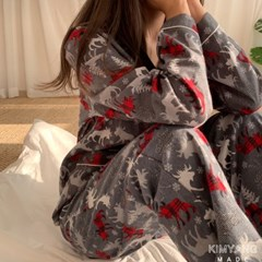 폴인스노우 순면기모 겨울 잠옷 홈웨어