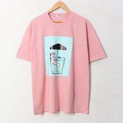 남녀공용 캐주얼 파라솔 프린팅 여름 반팔 티셔츠