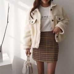 여자 4컬러 겨울 캐주얼 투포켓 누빔 덤블 양털 자켓