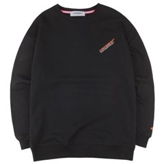 [COVERMENT] Diagonal Logo Over-Fit Sweatshirts_Black