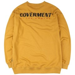 [COVERMENT] Slogan Logo Print Over-Fit Seatshirts_Mustard
