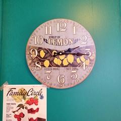 빈티지 과일 일러스트 벽시계 (체리/레몬/스트로베리)