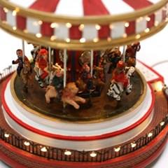 크리스마스오르골 장식 놀이공원 회전목마(중)