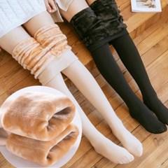 슬리미 밍크 퍼 안감 따뜻한 레깅스 겨울 스타킹_(2283403)