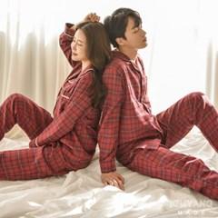 기모체크 겨울 커플 파자마 잠옷
