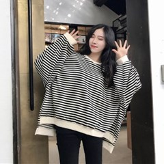 EY511언발 안감기모 루즈핏 스트라이프 맨투맨