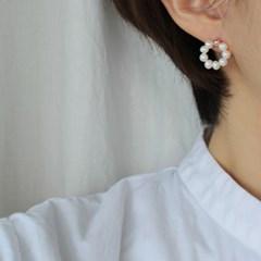 진주 라운드 로즈 귀걸이(6월탄생석)