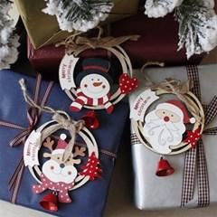 크리스마스 우드 원형 오너먼트 장식 3Pset